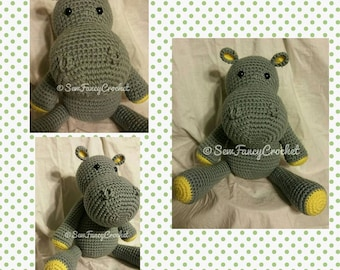 Hippo Stuffed Animal, Stuffed Hippo, Crochet Hippo Stuffed Animal, Crochet Safari Stuffed Animal, Crochet Stuffed Hippo, Safari theme