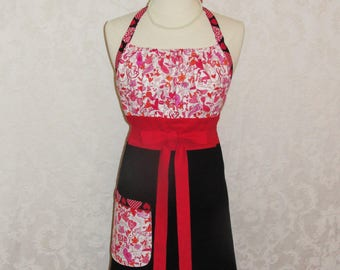 Flirty Chic Chef Apron Halter Style in Red and Black with Hearts Cute Womens Kitchen Apron - Ready to Ship
