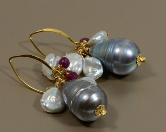Gray Big Pearl Earrings Large Pearl Earrings 14K gold Filled Earrings, Wedding Jewelry Birthstone Jewelry Pearl Earrings, Kasumi Pearl