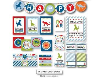 Dinosaur Birthday INSTANT DOWNLOAD Party Kit, Birthday Banner, Dinosaur Signs, Dino Party Decor, Red Blue Green Dinosaur Signs, #40