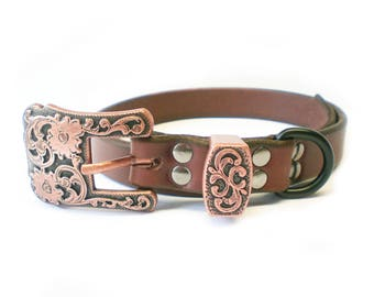 "3/4"" Nickel Free Rich Brown Chahin Bridle Leather Dog Collar with Copper Hardware"
