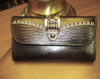 Bosco black leather clutch style wallet ladies vintage many card slots