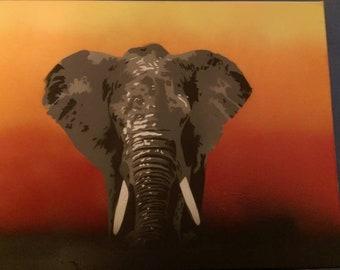 African Elephant Spraypaint Stencil by Doudkine