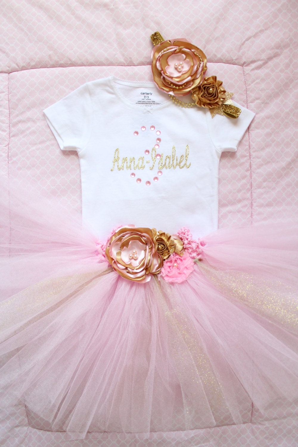 Beautiful Pink Gold Tutu Skirt Satin Flower Headband and