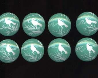 Teal and White BIRD Silhouettes -  Hand Painted Wooden Knobs/Pulls - Set of 8 - Great for Little Girl's Room, Nursery or Office
