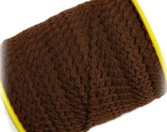 """Mini Brown RicRac. 3/16"""" Brown Ric Rac Trim. Skinny Brown Ric Rac. Scalloped Brown Trim. 3 Yards"""