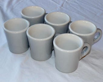 Vintage Ceramic Restaurant Style Gray Coffee Mugs 8oz. Set of Six