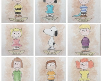 Peanuts Fan Art Collection - Peanuts Fan Art Set - Charlie Brown Fan Art Set Original Watercolor
