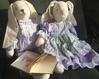 Vintage Peter Rabbit dolls and book, Bunny doll, Easter gift, handmade dolls, boy and girl doll set, Tale of Peter Rabbit, Beatrix Potter