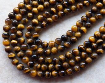 6.5mm A Grade - Natural Golden Brown Tiger's Eye Polished Round Gemstone Beads, 15.5 Inch Strand (N2-IND1C68)