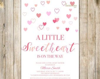 VALENTINE BABY SHOWER Invitation, A Little Sweetheart Is On the Way Invite, Baby Girl Boy Sweetheart Sprinkle Invite, Blush Pink Hearts