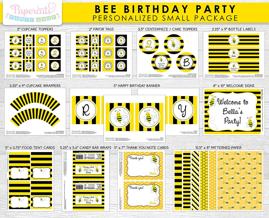 Busy Honey Bumble Bee Theme SMALL Birthday Party Package