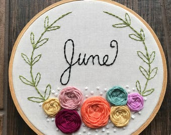Custom Floral Name Embroidery