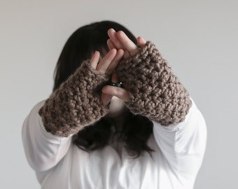 Chunky Fingerless Gloves Arm Warmers | THE WATERFORDS in Taupe