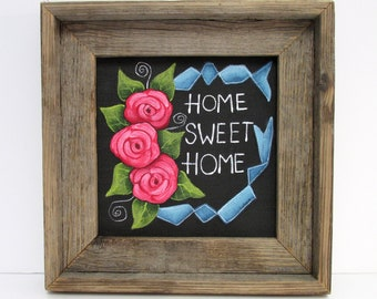 Home Sweet Home, Primitive Home, Blue Ribbon, Red Roses, Home Sign, Hand Crafted Wood Frame, Reclaimed Barn Wood, Hand or Tole Painted