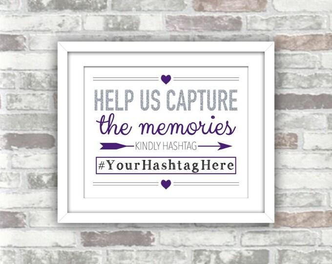 PRINTABLE Digital File - Wedding Hashtag Help Us Capture the Memories - Silver Glitter Effect Purple - 8x10 Personalised