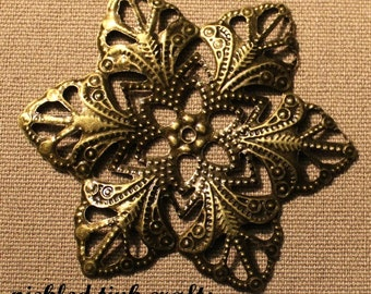 6 Fleur De Lis Shaped Petal Flower Metal Filigree Embellishment, 2 inches wide