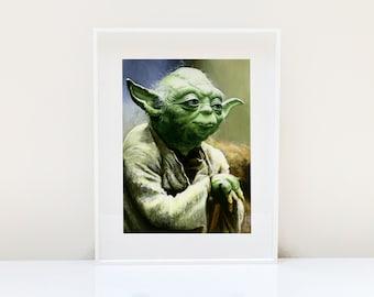 Yoda Portrait ( Yoda Art Star Wars Art Star Wars Jedi The Force Awakens Yoda Print Star Wars Painting Star Wars print Jedi Art )