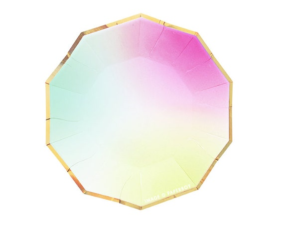 Toot Sweet Ombre Small Paper Plates by Meri Meri Modern Chic Pastel Rainbow Plates Hexagon / Light Pink Mint Green Yellow Gold Foil from PaperboyParty on ...  sc 1 st  Etsy Studio & Toot Sweet Ombre Small Paper Plates by Meri Meri Modern Chic Pastel ...