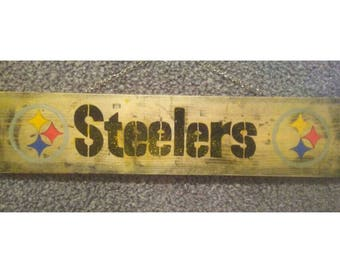Distressed Pittsburgh Steelers Wood Sign
