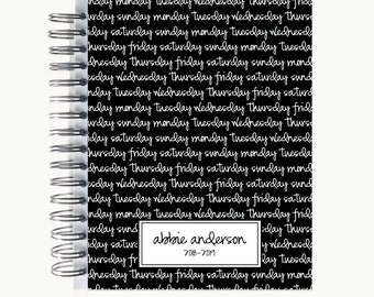 Bullet Journal – Personalized   Spiral   Dot Grid   Notebook   Days of the Week
