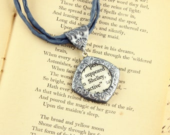 Shelley - Literature Necklace - Percy Bysshe - Mary Shelley - Frankenstein - Novel, Poet, Author, Poem, Romantic, Gothic - Silver, Gold