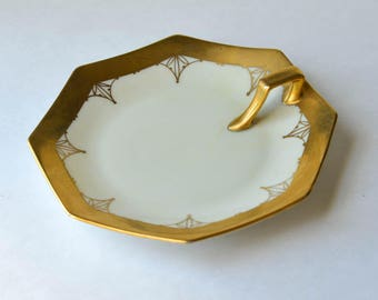 Art Deco Ring Dish, Gold Ring Dish, Vintage Jewelry Storage
