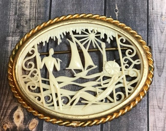 Vintage Jewelry- Depose Brooch- France 1920's Celluloid Pin with Sailboat- Antique Jewelry- Carved Silhouette- Faux Ivory- B76