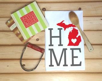 Michigan State Flour Sack Towel, Michigan State Tea Towel, Flour Sack Tea Towel, Housewarming Gift, Wedding Gift, Real Estate Gift, Map Art