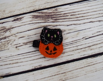 Handcrafted Black Cat Halloween Feltie Clip - Pumpkin Feltie Clip - Orange and Black Small Hair Clip - Baby Girl Bows - Halloween Accessory