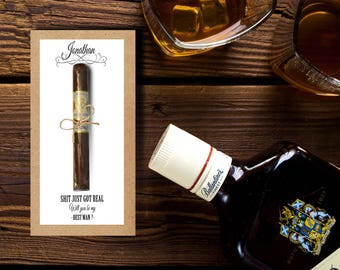 Cigar Card/ Best Man Gift/ Groomsman Gift/ Wedding Thank You/ Cigar Card/ Custom Cigar Labels/ Bachelor Party/ Party Favours/ Bachelor Gift