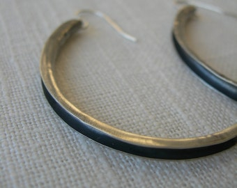 Cresent Moon Rising Earrings - Dramatic and Simple sterling silver anticlastic earrings