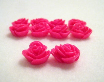 10 Hot Pink Flower Resin Embellishments, 14x8mm, Jewelry Making Findings, Craft Supplies, Cabochons  G1431