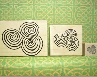 Newgrange Spirals Rubber Stamp Set of 3 Sizes Ancient Ireland