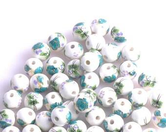 12 mm / 10 pearls white porcelain ceramic 12 mm