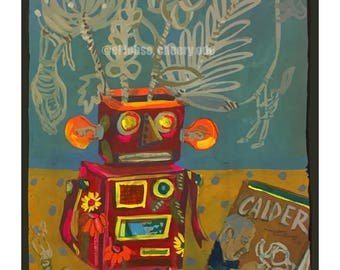 Robot Vase • Ode to Alexander Calder's wire circus • giclee • floral • moulin rouge • whimsical • flower vase art series • art history •gift