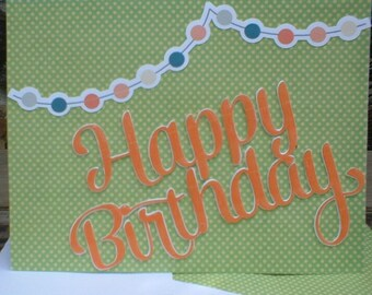 Orange and Green Happy Birthday Banner Greeting Card