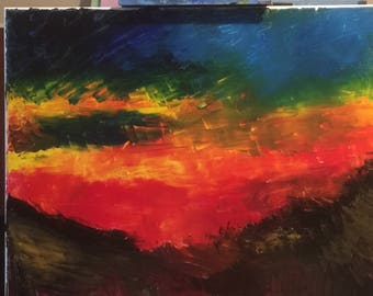 Lava acrylic palette knife on canvas 16x20