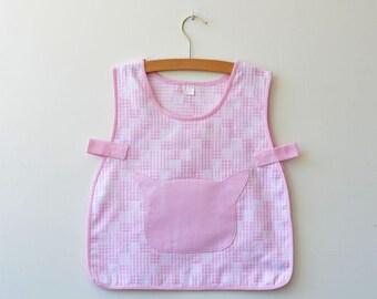 Tablier/blouse rose à carreaux sans manches 3 ans - 4 ans - 5 ans