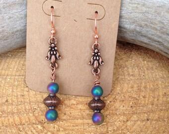 Copper dangle drop earrings