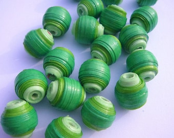 Green Ball Beads - Paper Beads - Green Beads - 1cm Beads - Beads for Jewellery Making - 20 Colourful Beads - Paper Jewellery - Bead Shop