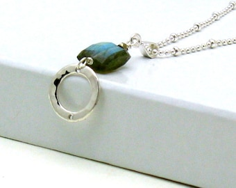 Labradorite Stone Pendant Necklace, Geometric Teal Labradorite and Silver Delicate Necklace, for Her Under 100