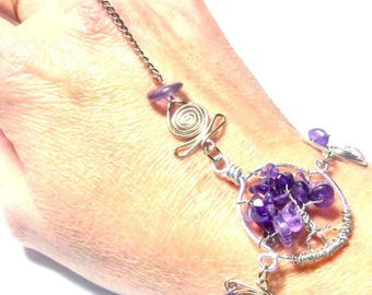 Life tree bracelet / ring with Amethyst stone