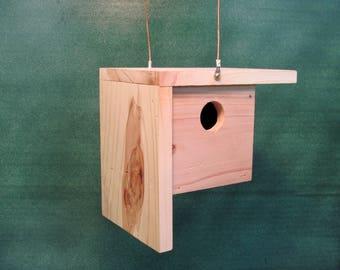 Cedar Birdhouse Modern birdhouse Handmade bird house Hanging Cedar Birdhouse Natural Finish Birdhouse Wooden Bird House wood birdhouse
