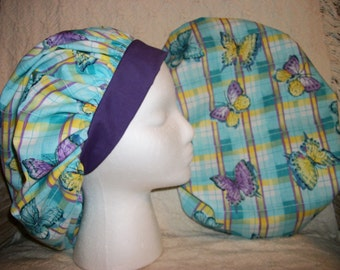 Teal and Purple Butterflies Medical Bouffant Scrub Hat