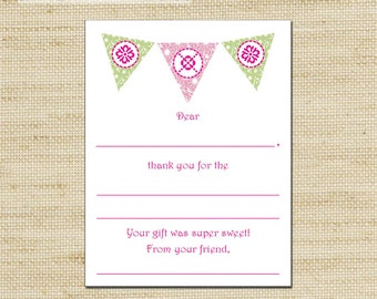 Lilly Pulitzer, Flags, Flower Kids Thank You Cards, Thank you cards & envelopes, Kids Thank You Cards, Fill In The Blank Cards FREE SHIPPING