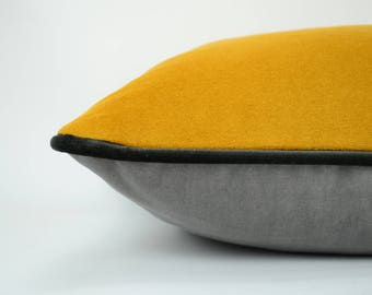 grey and yellow pillow case // yellow and grey velvet cushion // grey and yellow