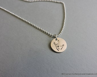 Hand Stamped ASL I Love you hand sign charm or build your own Necklace (#1641)