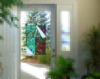 Geometric Abstract ~ Fiber Art Batik Pojagi Patchwork Window Treatment~Stained Glass-Look ~ bohemian decor ~boho hippie window decor