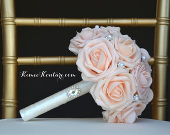 PINK BLUSH BRIDESMAID Bouquet with Bling Gem Brooch. Pink Blush Wedding. Pink Blush Bouquet. Pale Pink Bouquet Custom made to order